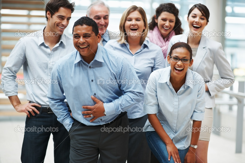 Multi ethnic group of business rejoicing success — Stock Photo #3365590