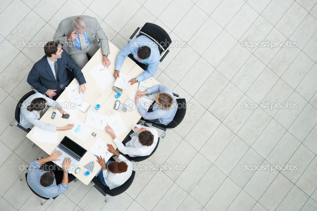 Top view of successful business sitting at a table for meeting with copyspace — Stock Photo #3366412