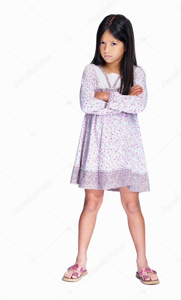Full length portrait of an adorable girl upset isolated over white background — Stockfoto #3366640
