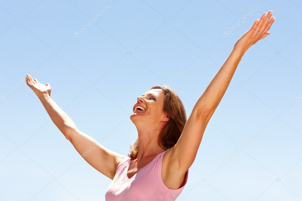 Portrait of happy young woman enjoying her freedom - Outdoor — Stock Photo #3368438