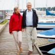 Senior couple walking on a wooden boardwalk at he harbour - Stock Photo