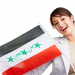 Royalty-Free Stock Photo: Young woman displaying an Iraqi flag against white background