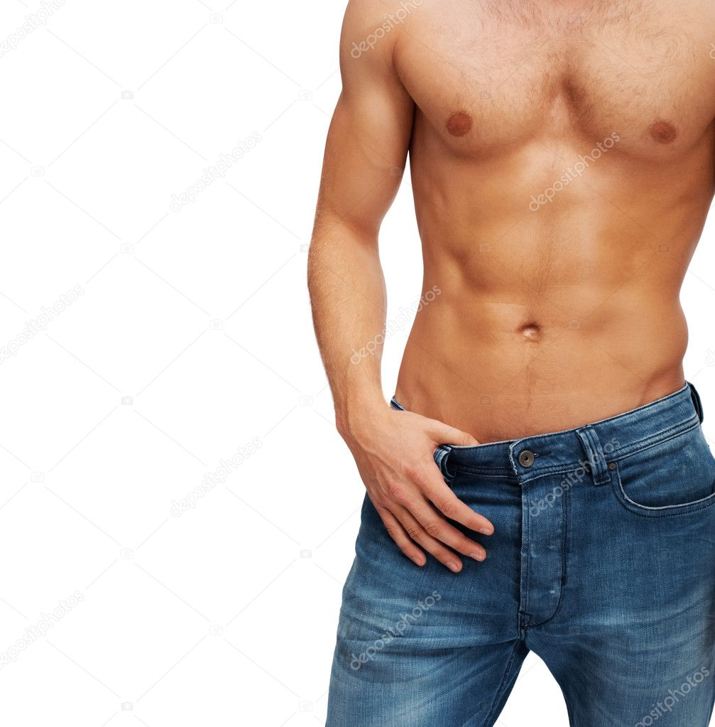 Sexy muscular torso of a man isolated on background  Stock Photo #3405849
