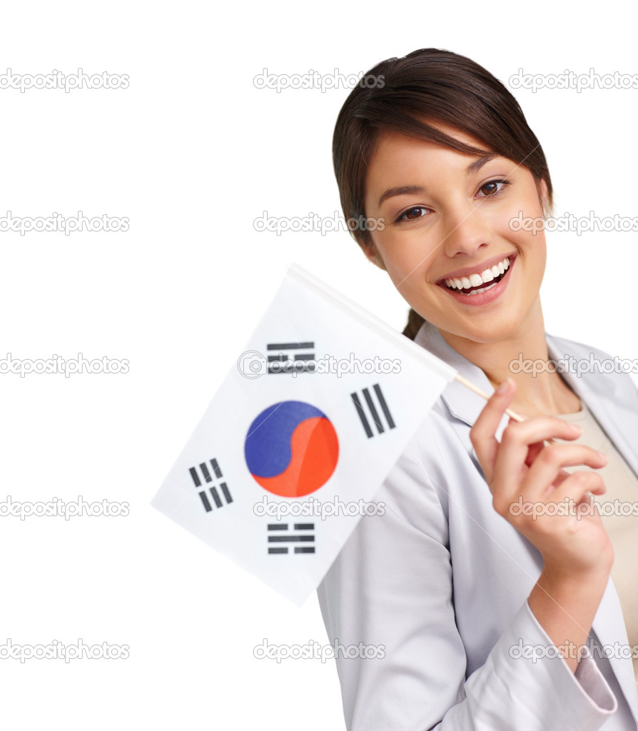 Portrait of a happy young woman with a Korean flag , white background — Stock Photo #3408788
