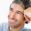 Royalty-Free Stock Photo: Closeup of a happy man resting his head on hand