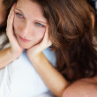 Royalty-Free Stock Photo: Closeup of an unhappy lady having problems in bed with husband