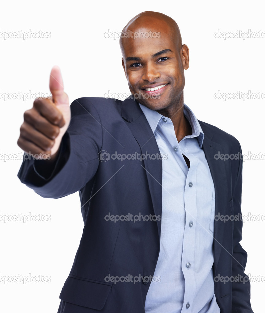 Portrait of a smiling African American business man showing a thumbs up sign on white background  Stock Photo #3458773