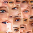 Punctuation sign over a collage of human eyes - Stock Photo