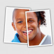 Royalty-Free Stock Photo: Comparison pictures of child and adult face of african american