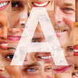 Royalty-Free Stock Photo: Letter A - Alphabet against collage of human facial parts
