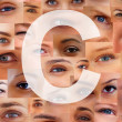 Royalty-Free Stock Photo: Letter C - Alphabet against collage of human eyes
