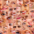 Collage of parts of many human smiling face - Foto de Stock