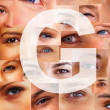Royalty-Free Stock Photo: Letter G - Alphabet against collage of human eyes