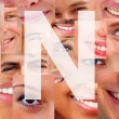 Royalty-Free Stock Photo: Letter N - Alphabet on collage of human facial parts