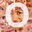 Royalty-Free Stock Photo: Letter O - Alphabet on collage of human facial parts