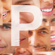 Letter P - Alphabet on collage of human facial parts - Stock Photo