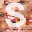 Royalty-Free Stock Photo: Letter S - Alphabet against collage of human facial parts