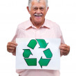 Don't be trashy! Recycle! - Old man holding recycle symbol - Stok fotoğraf