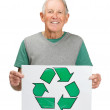 Royalty-Free Stock Photo: Green global awareness - Handsome old man holding recycle sign