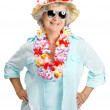 Royalty-Free Stock Photo: Happy old woman tourist wearing garland