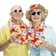 Royalty-Free Stock Photo: Sweet elderly couple enjoying their holiday on white