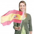 Royalty-Free Stock Photo: Smiling female with Spain\'s flag against white