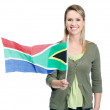 Royalty-Free Stock Photo: Smiling female with South Africa\'s flag against white