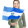 Royalty-Free Stock Photo: Smiling female with El Salvador\'s flag against white