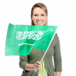 Royalty-Free Stock Photo: Smiling female with Saudi\'s flag against white