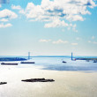George Washington Bridge crosses over the Hudson River - Stock Photo