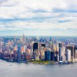 Aerial view of Lower Manhattan New York City - Stock Photo