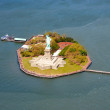 Aerial view of Liberty Island and Statue of Liberty - Stock Photo