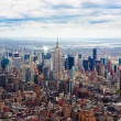 Aerial view of Empire state building and downtown Manhanttan - Stock Photo