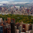 Aerial view of central park with big buildings - Stock Photo