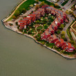 Aerial view of row houses on the bank of river - Photo