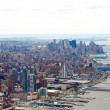 Aerial view of New York City and Hudson river - Stock Photo