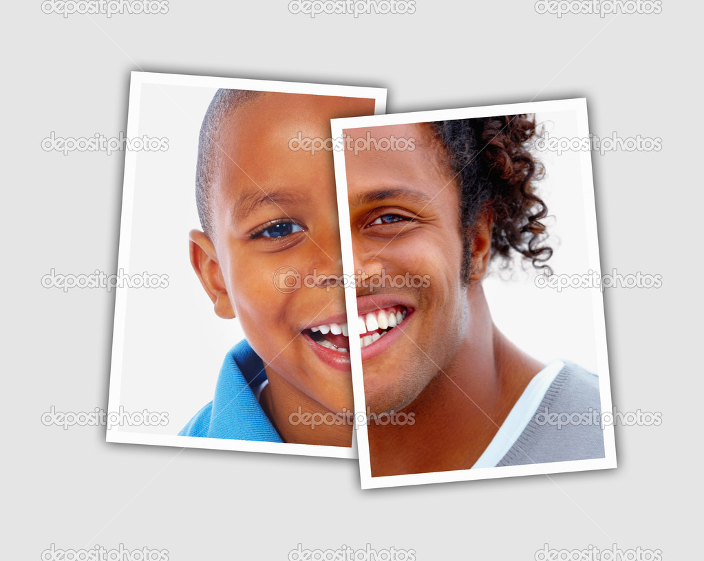 Pn[6HNXFU9] Comparison pictures of child and adult face of african american man - Montage — Stock Photo #3462244