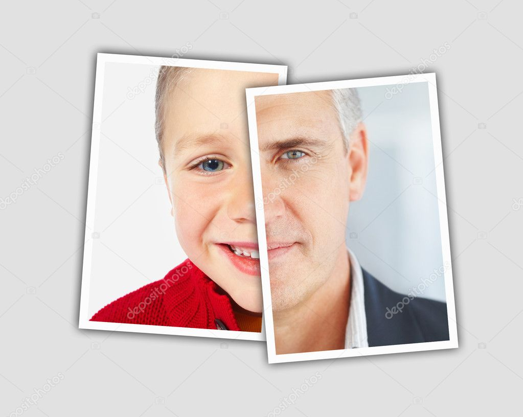 Comparison pictures of child and middle aged face of caucasian man - Montage — Stock Photo #3462246