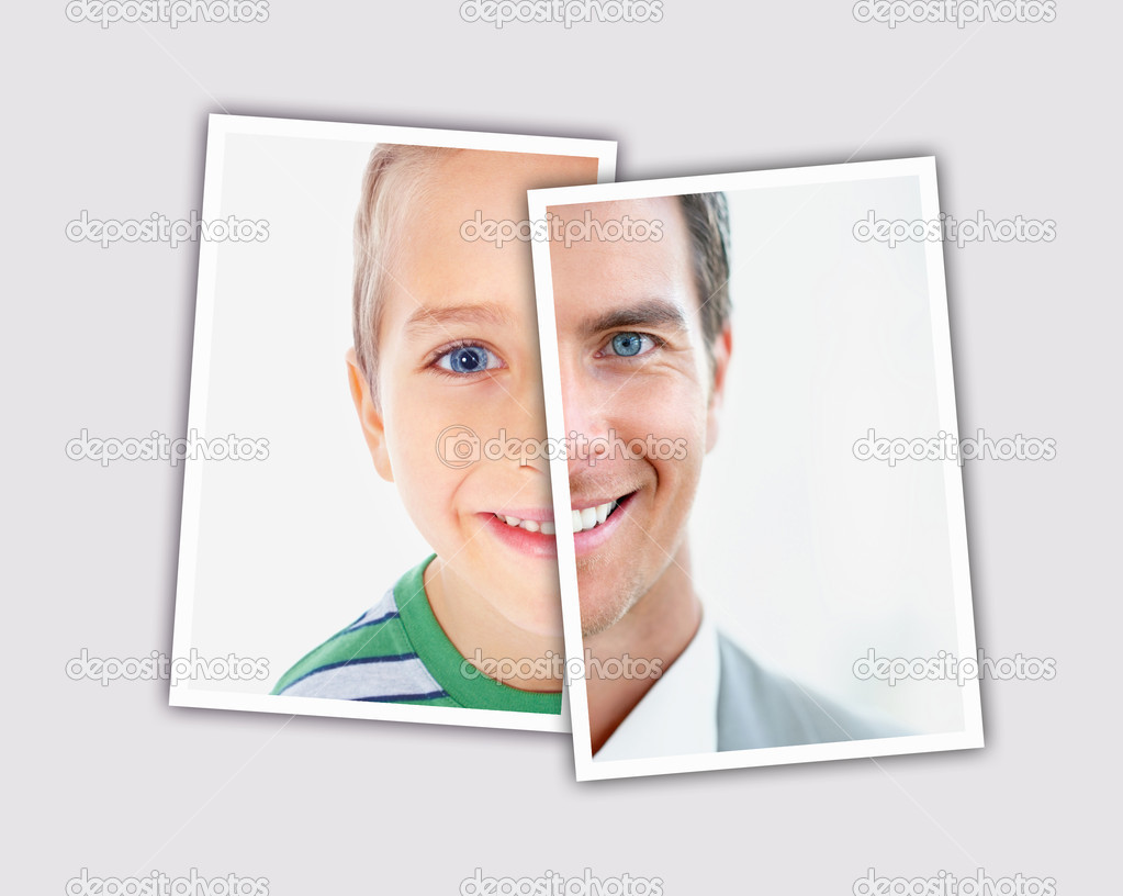 Collage of a boy/man faces  Stock Photo #3462247