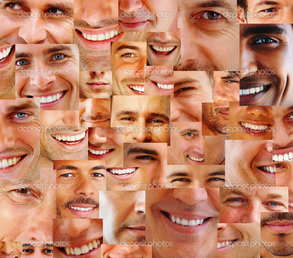Collection and Collage of parts of many human smiling face — Stock Photo #3462262