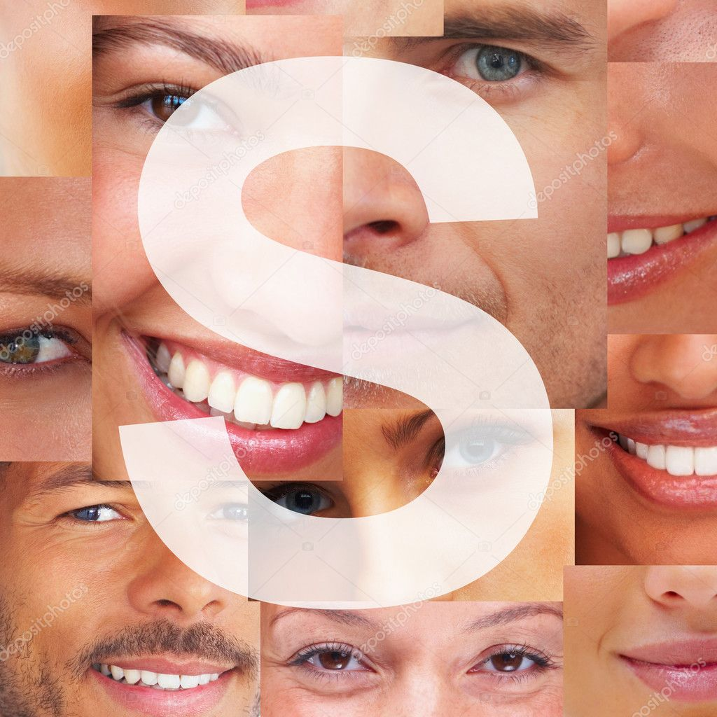 Alphabet against background of different happy human facial parts - Montage  Stock Photo #3462334