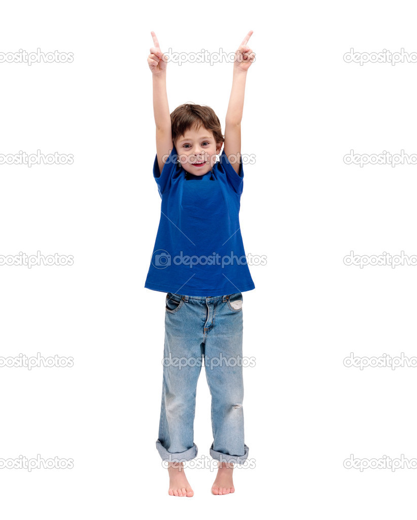 Full length portrait of a happy little boy standing with hands raised on white background  Stock Photo #3462567