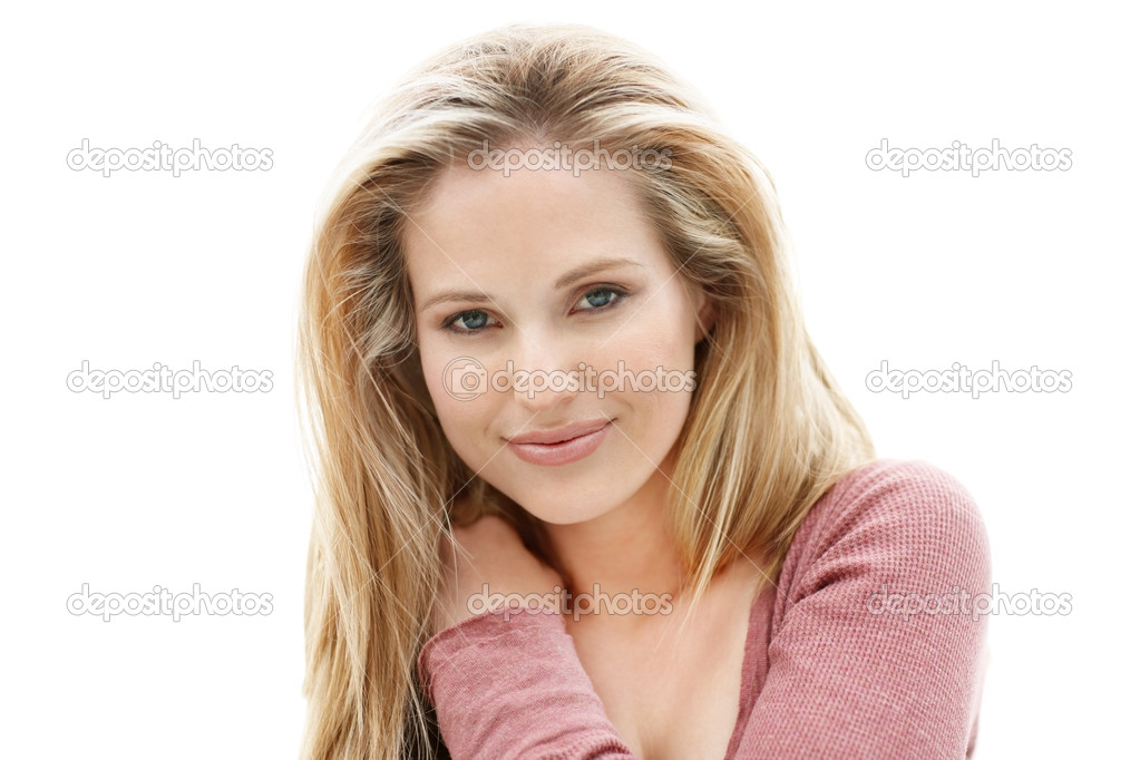 Portrait of a young sexy woman isolated on white background  Foto de Stock   #3464000