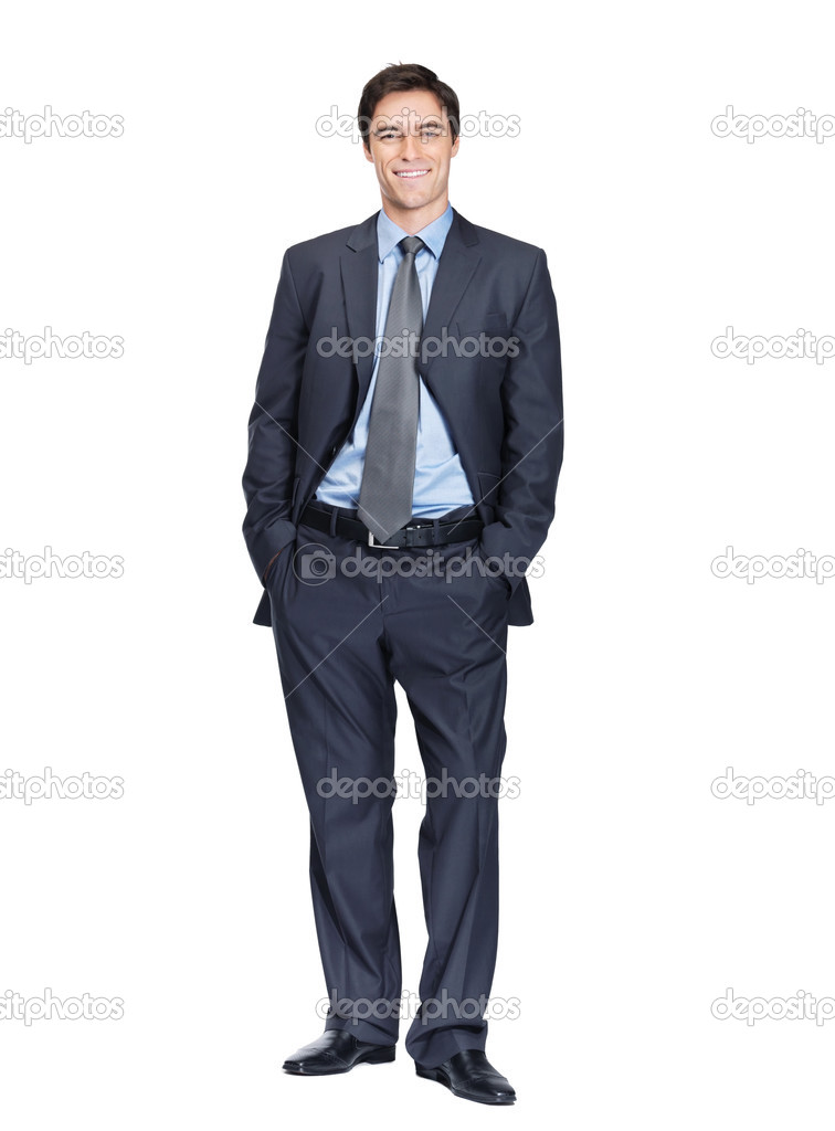 Full length of a handsome business man standing with hands in pocket against white — Stock Photo #3465904