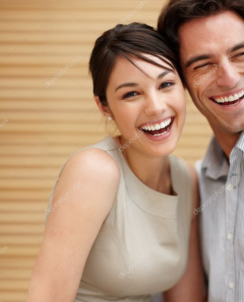 Portrait of happy young woman and man smiling together — Stock Photo #3467458