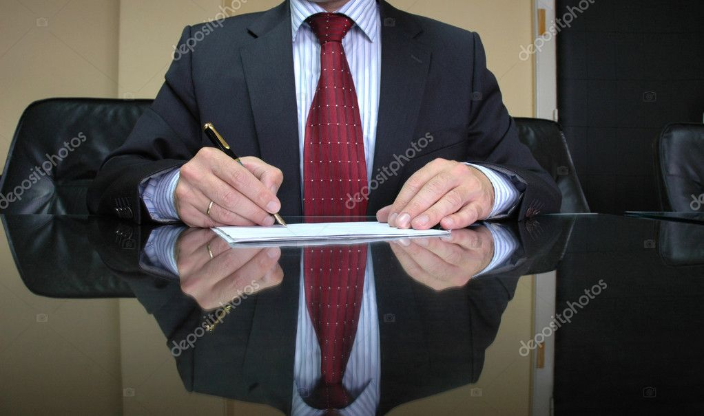 Business Manager writing on blank paper, business concept  Stock Photo #2802844