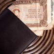 LEATHER WALLET LOADED WITH OLD BANKNOTES — Stock Photo