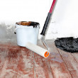 Home rennovation - flattening the floor with hydroisolating mast — Stock Photo #3294317