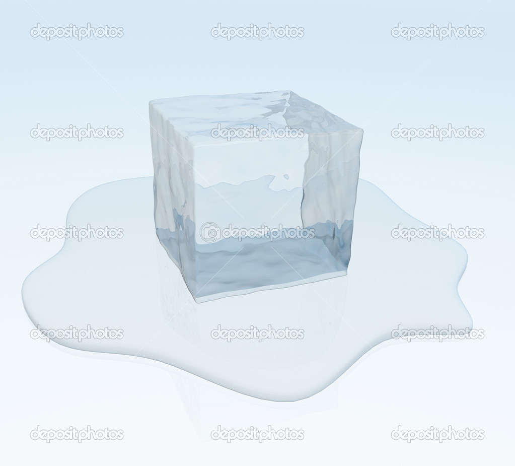 Melting ice cube in a puddle of water — Stock Photo #3451718