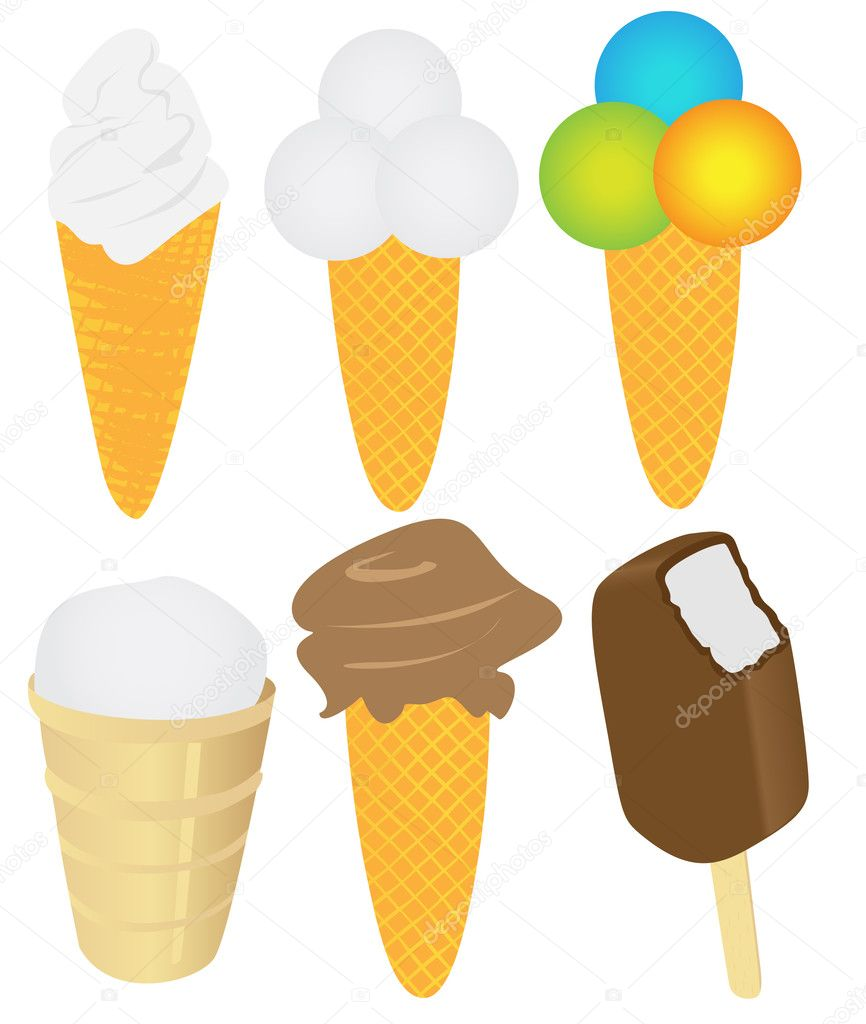 Ice cream pack. Collection. Set of vector illustrations  Stock Vector #3783345